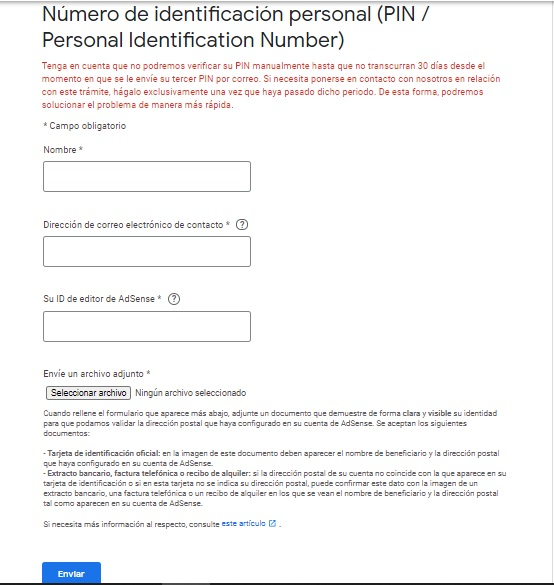 Formulario para verificar cuenta de Google Adsense