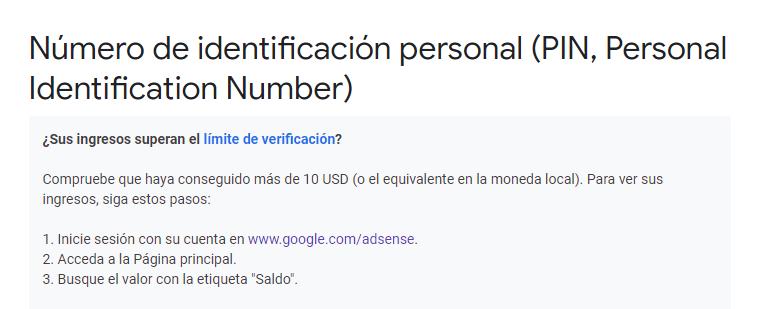 Ingreso mínimo para verificar cuenta de Google Adsense